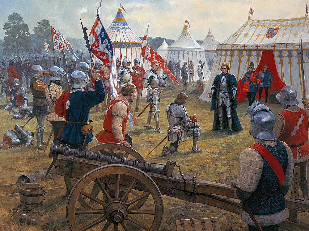 Earl of Warwick kneels to King Henry VI after the King's capture by the Yorkists at the Battle of Northampton on 10th July 1460 in the Wars of the Roses: picture by Graham Turner
